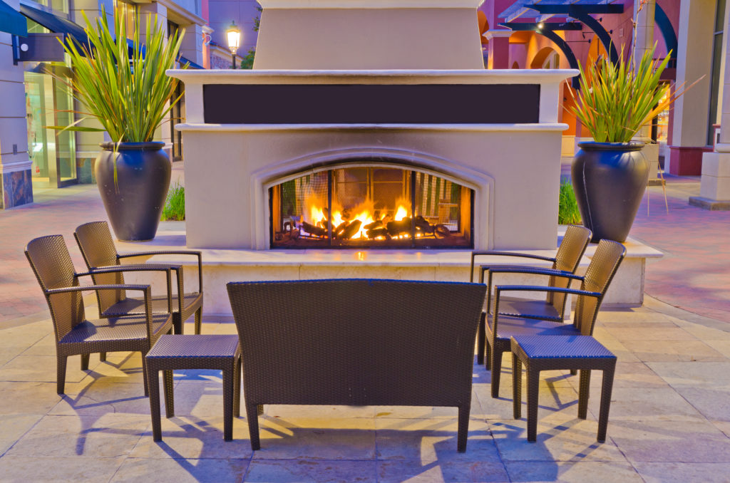 Outdoor hangout place with fireplace
