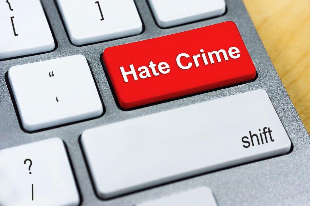 Hate crime keyboard button