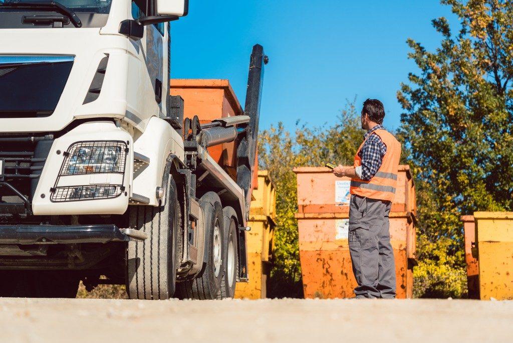 Truck loading construction debris