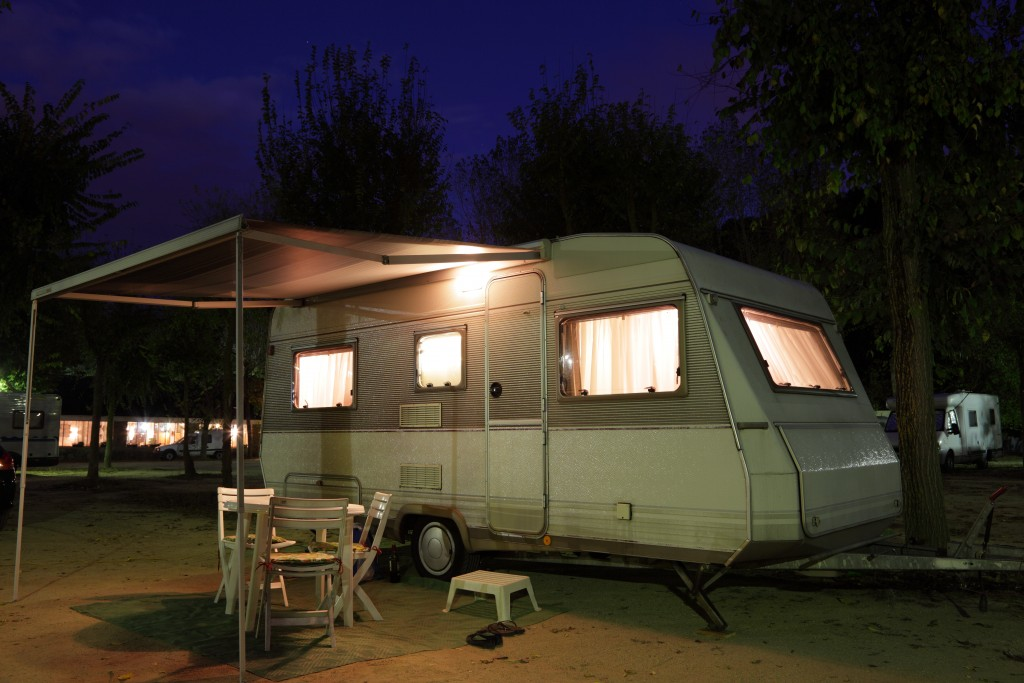 RV camper in a camping site