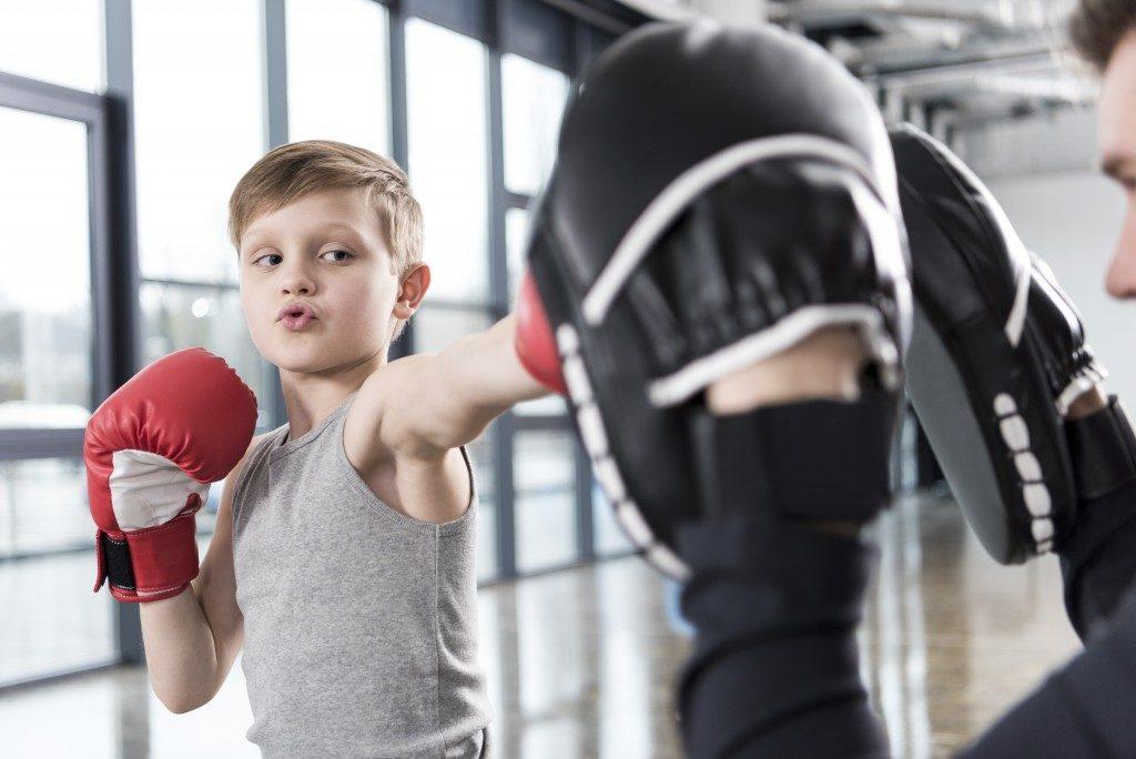 little boy in training