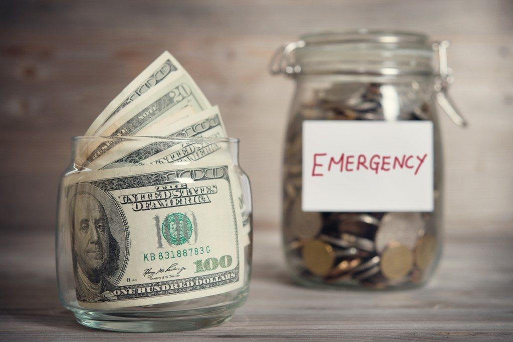 money on jars and emergency money jar