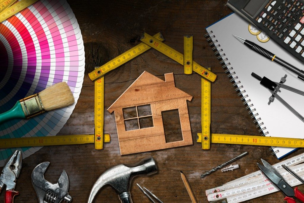 tools and equipment for renovationsurrounding a house model