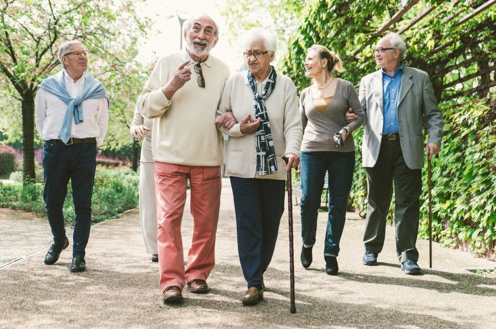 Elderly going for a walk
