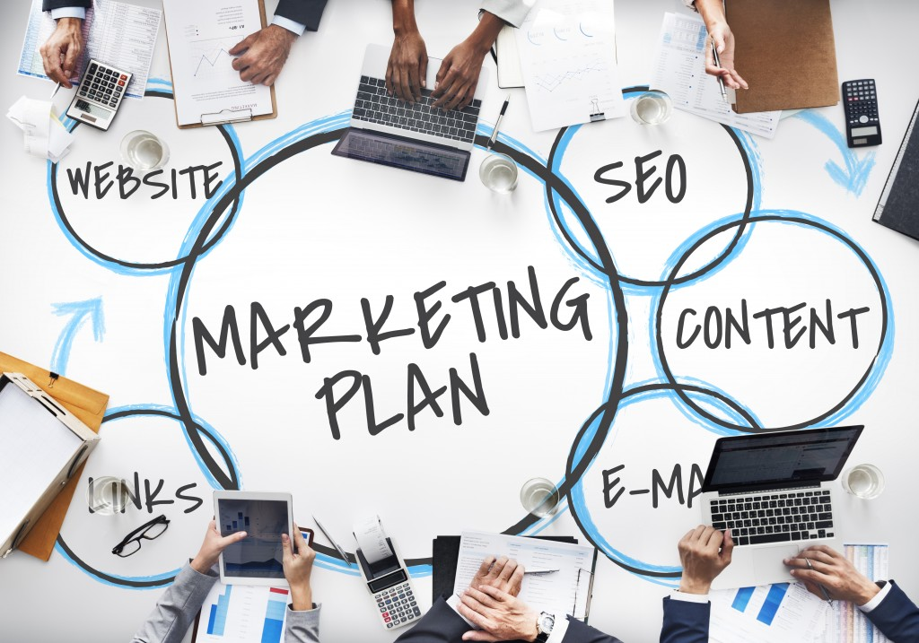 encricled marketing plan text surrounded by its different aspects on a white table