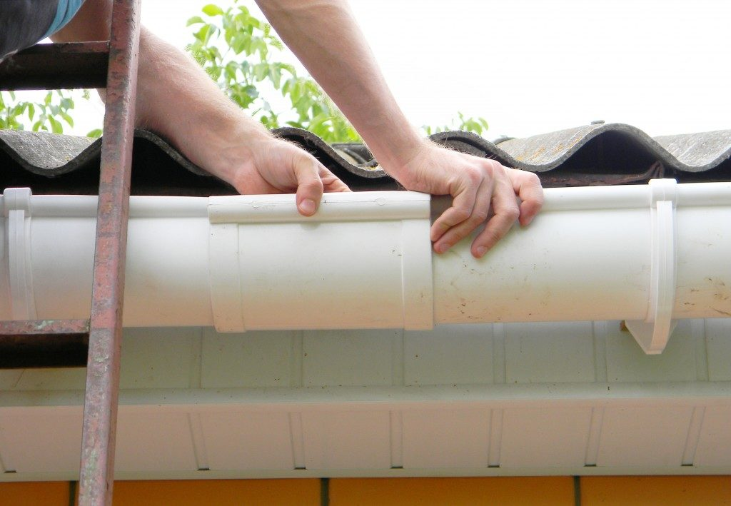 checking roof gutter