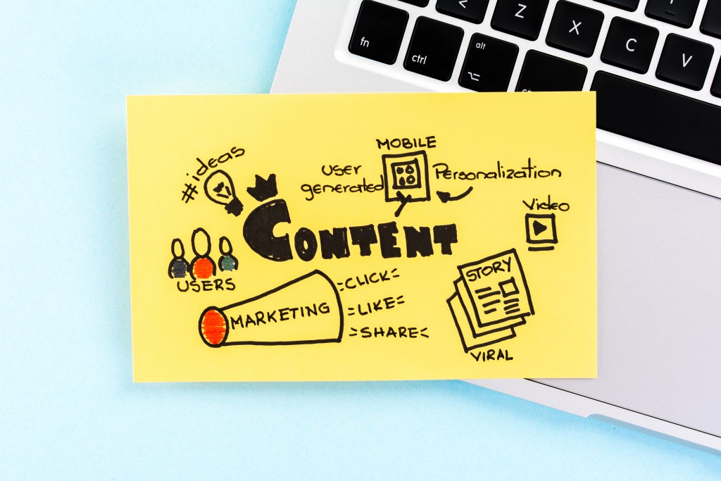 content marketing terms on a sticky note