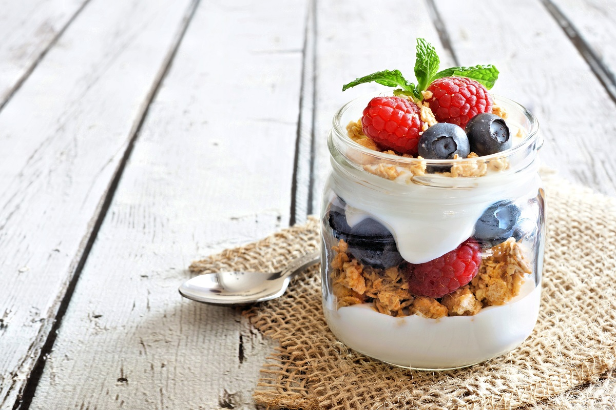 healthy yogurt and fruits on a jar