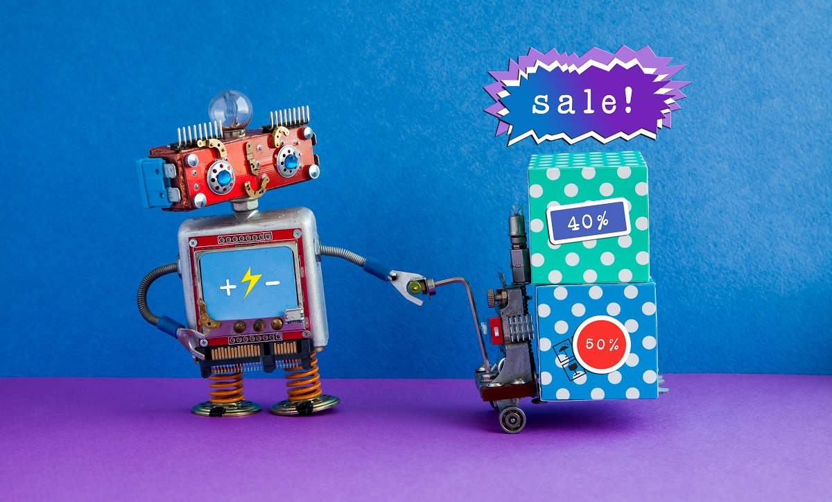 Special sale promotion poster. Comical robot moving shopping cart boxes with discount advertising stickers. Blue purple background.