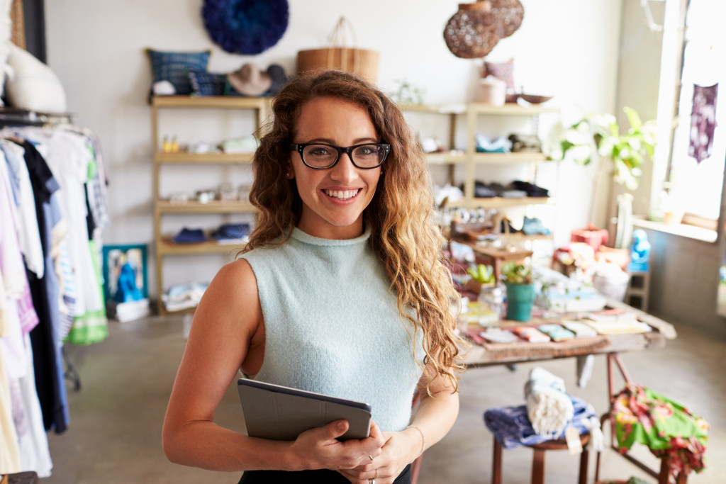 Female retail business owner