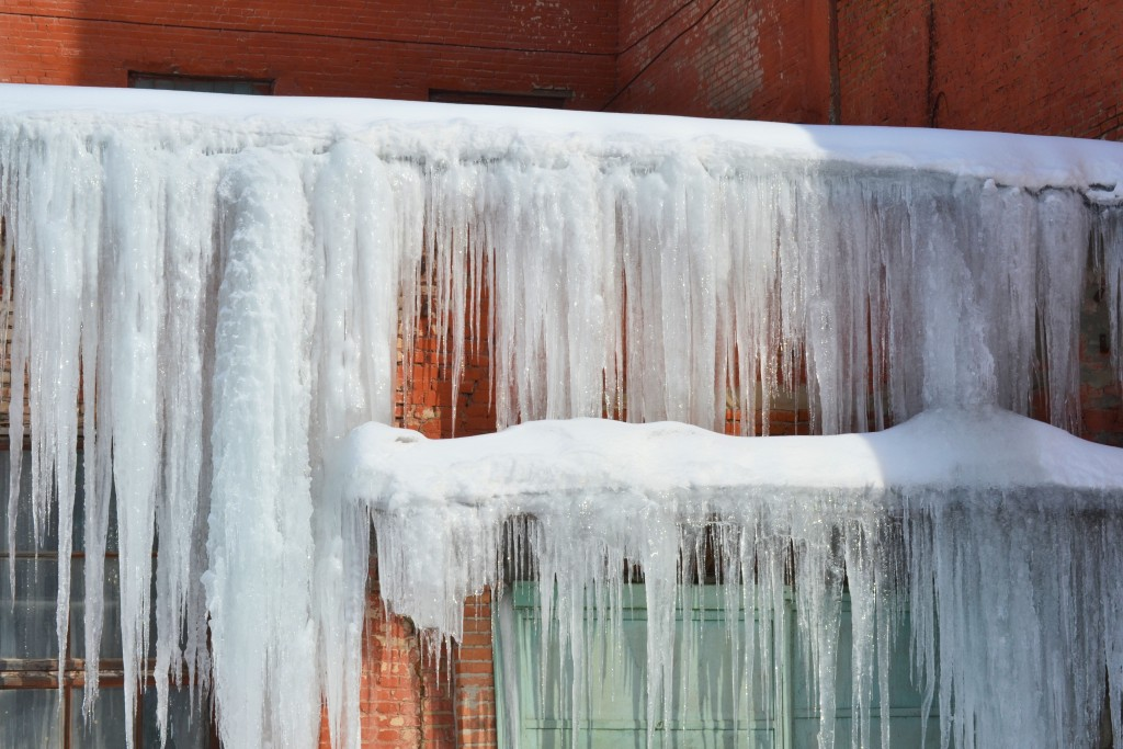 snow and ice on a structure